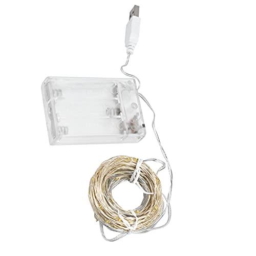 Eosnow Luz de Alambre de Cobre, Doble Fuente de alimentación LED Cadena de luz ABS + Material de Alambre de Cobre para decoración de jardín de Patio al Aire Libre