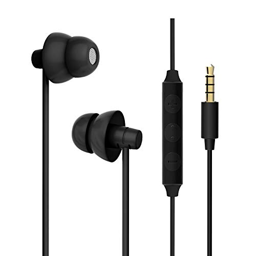 Sleep Headphones, MAXROCK Ultra Soft Comfortable In-ear Earphones w Mic and Volume Control Sound Blocking Earplugs Earbuds for Sleeping, Snoring, Bedtime, Relaxation, Air Travel, Insomnia & Meditation