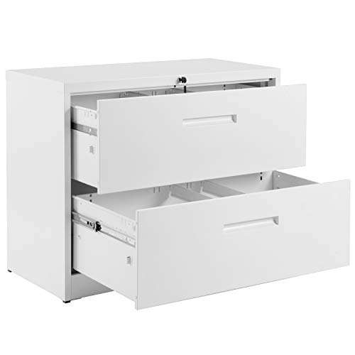 2 Drawer White Lateral File Cabinet Lockable Heavy Duty Metal File Cabinet Lateral with 2 Drawers White 35.4