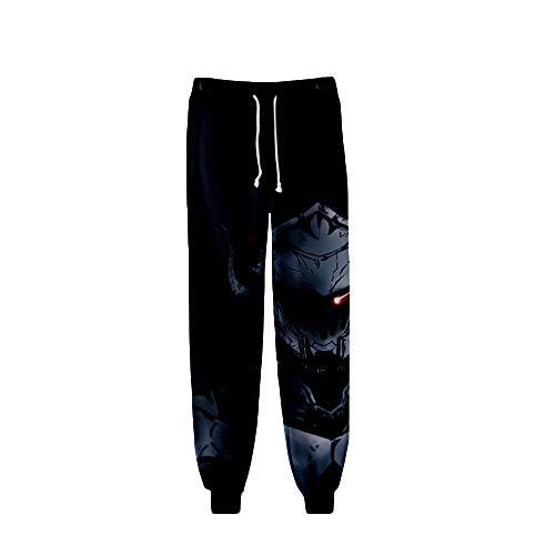 Fkjhkerk Goblin Slayer Chándal de Trabajo Hombre Hombres Pantalones de chándal Pantalones Casual Impreso Elásticos Pantalones Deportivos Bolsos Holgados Pantalones