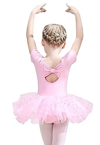 ZRFNFMA Kinder Tanzkleidung Kleine Mädchen Ballett Röcke Mädchen Praxis Kleidung Kinder Kurzarm Tanzkleid Kleid Rosa 110cm