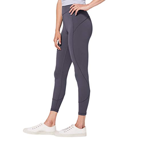 WOZOW Damen Leggings Gamaschen Solid Basic Dünn Skinny Stretch Sport Hose Yoga Stoffhose High Waist Sweathose Casual Workout Jogginghose Trousers (L,Dark Grau)