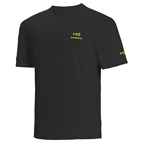 Bassdash - Maglietta da uomo con protezione solare UPF 50+, a maniche corte Logo nero/giallo. L