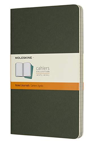 Moleskine - Cahier Journal Cuaderno de Notas, Set de 3 Cuadernos con Páginas, Tapa de Cartón y Cosido de Algodón Visible, Color Verde Mirto