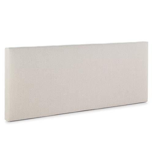 Cabecero tapizado Tagomago 140x60 cm de Lino Natural, para Cama 135 cm, Acolchado con Espuma, 8 cm de Grosor, Incluye herrajes para Colgar
