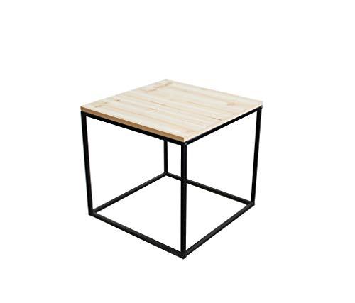 Metall Beistelltisch mit Holz Tischplatte - 39x39x36 cm - Couchtisch Sofatisch Tisch