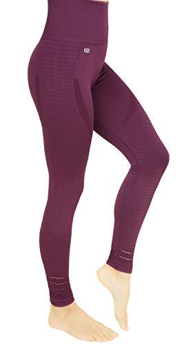 Prosske Damen Sport Leggings DLL1 Laufhose Fitnesshose Sporthose Atmungsaktiv (Weinrot, XS)