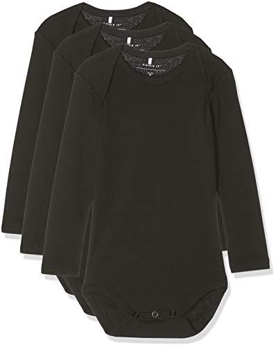 NAME IT Unisex Baby Strampler NBNBODY 3P LS SOLID Black NOOS, 3er Pack, Schwarz (Schwarz Black), 92