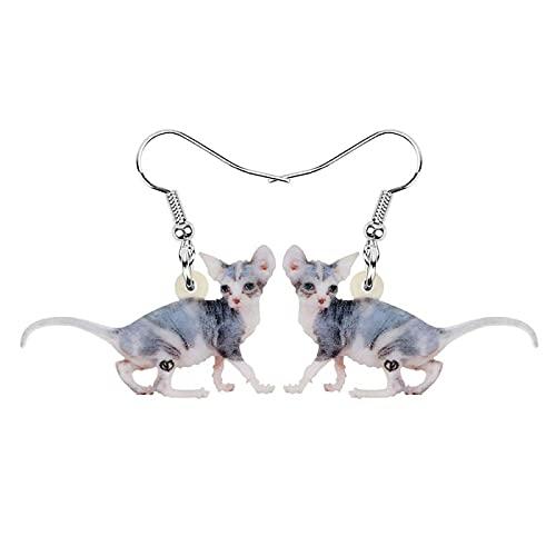 Pendientes sin pelo canadienses dulces acrílicos Animal lindo gatito cuelga joyería para mujeres regalo para niños