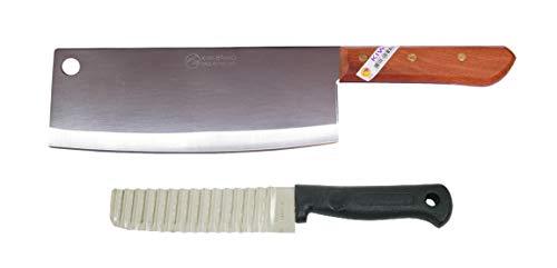 Kiwi Thai Hackmesser #812 Hackbeil Kochmesser Küchenmesser 342 Gramm 35cm + Wellenschneider Wellenchnitt Messer Buntmesser