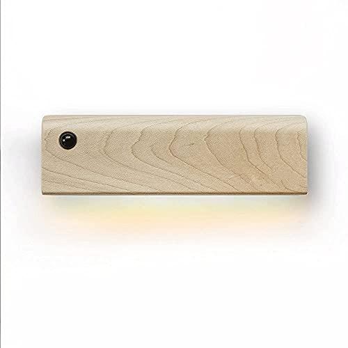 Lámpara de noche rectangular de inducción de troncos Lámpara de pared de pasillo de cabecera de dormitorio simple, Lámpara de mesita de noche para interiores, Tronco compacto Diseño pequeño y exq