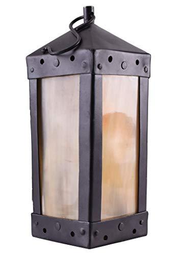 Ulfberth Mittelalterliche Laterne mit Hornfenstern, 4-eckig, handgefertigt - Windlicht Kerzenhalter, Kerzenleuchter Mittelalter Wikinger LARP Metall