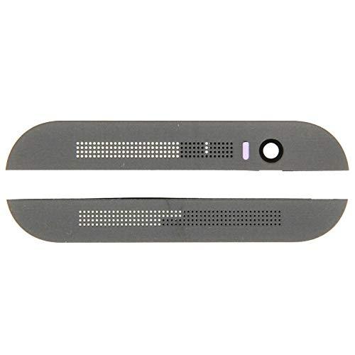 HTC-Smartphone-Zubehör Obere obere Oberseite + untere untere Glaslinsenabdeckung & Klebstoff für HTC One M8 (grau) (Farbe : Grey)