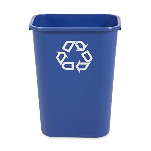 Rubbermaid Commercial Products Fg295773Blue Plastic Resin Deskside Recycling Can 10 Gallon/41 Quart Blue Recycling Symbol