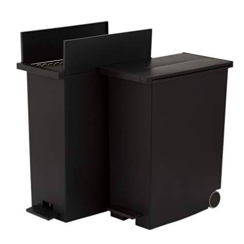 KEYUCA(ケユカ)arrotsダストボックスⅡブラック(27L/ペダル式2個セット)ゴミ箱後輪キャスター付きゴミ袋が見えないふた付き