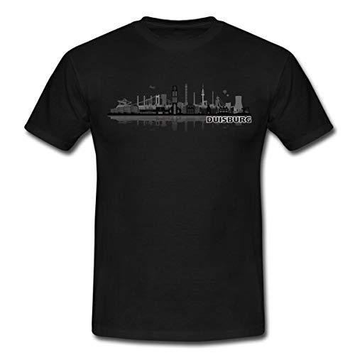Duisburg Skyline Stadt Silhouette Männer T-Shirt, L, Schwarz