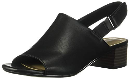 Clarks Women's Elisa Lyndsey Heeled Sandal, Black Leather, 7.5 M US