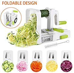 [NEWLY IMPROVED]Vegetable Spiralizer, 5 Blade Spiralizer Vegetable Slicer, Veggie Pasta Spaghetti Maker, Foldable Spiral Slicer with Cleaning Brush & Super Strong Suction Pad By Uvistare