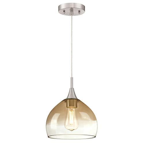 63669 Einflammige Pendelleuchte von Westinghouse Lighting für Innenbereiche, Ausführung in gebürstetem Nickel mit bernsteinfarbenem und klarem Glas