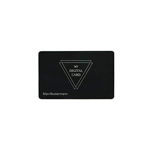 Digitale Visitenkarte mit Gravur- Sigma Card NFC/QR Code, mattschwarzes Metall (Silber) inkl. eigener Website ohne monatliche Gebühr als digitales Profil und kostenloser App für iOS und Android