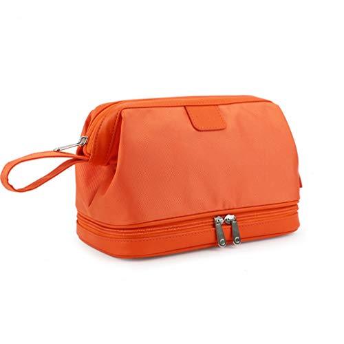 Sac de Lavage de Voyage Double Couche Portable pour Hommes Sports et Fitness Sac de Rangement extérieur Organisateur Multi-Couche de Grande capacité (Color : Orange)