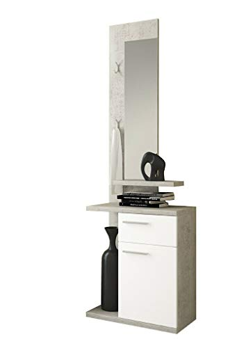 Mobile Nauplia Mobiletto da Ingresso con Vani Mensola e Specchio Arredo Arredamento Sala 60.5 x 186 x 28 cm Colore Bianco e Grigio Cemento