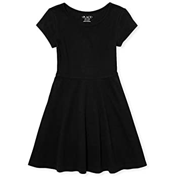 The Children s Place girls Short Sleeve Solid Knit Pleat Dress Black 14 US
