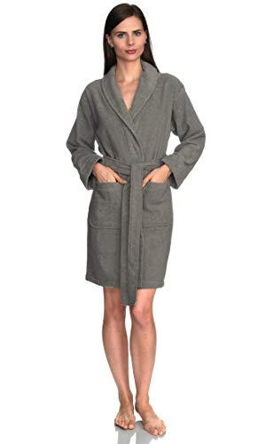 TowelSelections Women's Robe, Turkish Cotton Short Terry Bathrobe Large Sharkskin