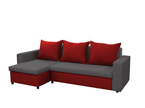mb-moebel kleines Ecksofa Sofa Eckcouch Couch mit Schlaffunktion und Zwei Bettkasten Ottomane L-Form Schlafsofa Bettsofa Polstergarnitur LARS (Grau + Rot,...