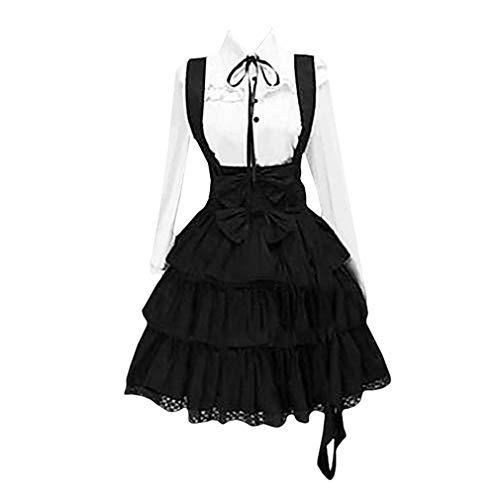 Femme Rétro Lolita Robe Gothique Steampunk Robe de Princesse Bow Lace-up Robe de Soirée Manches Longues Coupe Slim Robe de Balançoire