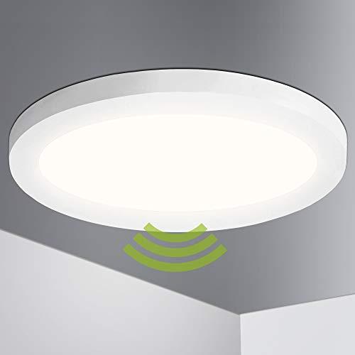 Lumare LED Deckenleuchte mit Bewegungsmelder 18W Extra Flach rund 1400lm 225mm IP44 Deckenlampe inkl. Bewegungssensor für Wohnzimmer Badezimmer Küche Flur Keller Wandleuchte Aufbau innen warmweiß