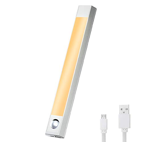 BMK Bewegungsmelder Nachtlicht Einfache Montage 60 LED USB Schranklicht 3 Farbe Kleiderschrank Schrankbeleuchtung mit Lichtsensor Rechargeable Batterie Magnet Für Schrank Küche Flur Schublade