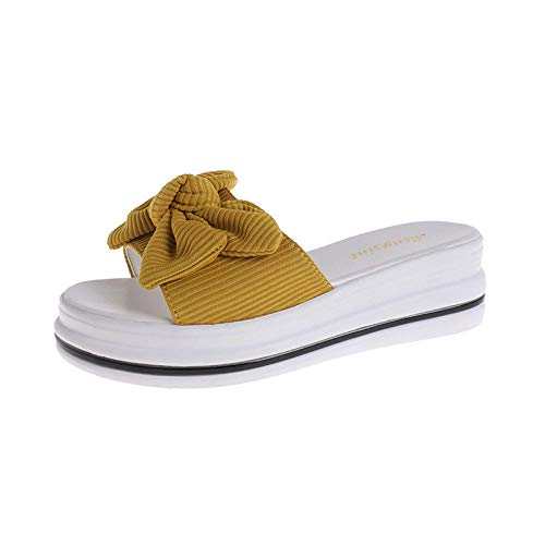 YYFF Hombres Verano Flip-Flop Sandalias,Slippers with Bow,Sandals with Sponge Cake-Yellow_36,Chanclas Hombre