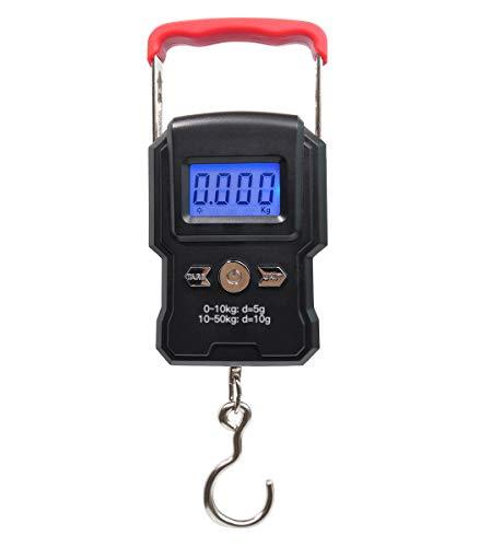 Digitale Fischwaage, Kofferwaage, 110 lb/50 kg Elektronische Handwaage mit 2 AAA Batterien enthalten, Beleuchtetes Display