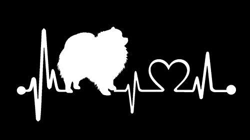 Pomeranian Pom Heartbeat Monitor Decal Sticker K1057