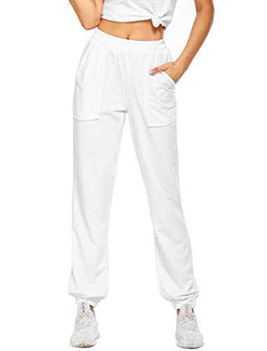 Misakia Women High Waisted Cinched Bottom Sweatpants Sporty Athletic Lounge Trousers White M