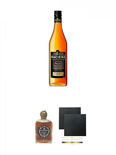 Macieira Royal Brandy Five Star Oeiras 1,0 Liter + Lepanto Brandy 5 cl Miniatur + Schiefer Glasuntersetzer eckig ca. 9,5 cm Ø 2 Stück