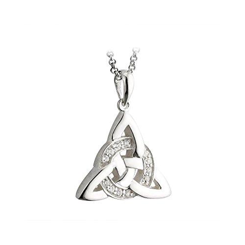 Solvar Trinity Knot Necklace Celtic Irish Sterling Silver CZ Pendant Made in Ireland