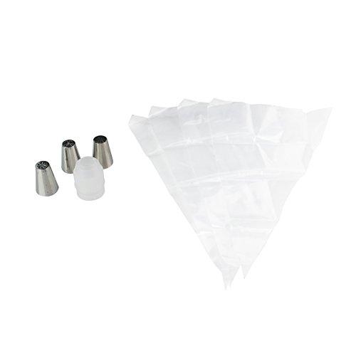 Lily cook KP5428 Set de 4 Poches à Douille Jetable, INOX + PVC, Argent, 13,5 x 6,5 x 18,4 cm