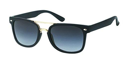 Chic-Net Gafas de Sol Retro de Doble Pierna 400 UV Nerd Wayfarer Tintado Negro