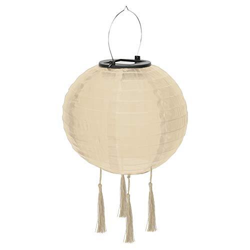 Farolillo LED solar para fiestas, jardín, 30 cm, forma de bola, pantalla redonda con 4 borlas, resistente al agua IP55, para decoración de jardín