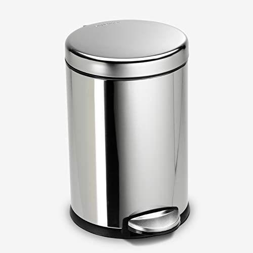 simplehuman, Polished Stainless Steel 4.5 Liter / 1.2 Gallon Round Bathroom Step Trash Can, 4-1/2L