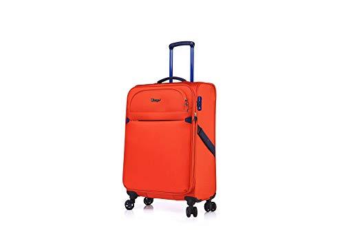 ABISTAB Verage Ultraleicht 4-Zwillingsrollen-Trolley mit TSA, Weichgepäck Koffer M-68cm 64-77L erweiterbar, Stoff Reisekoffer, Orange