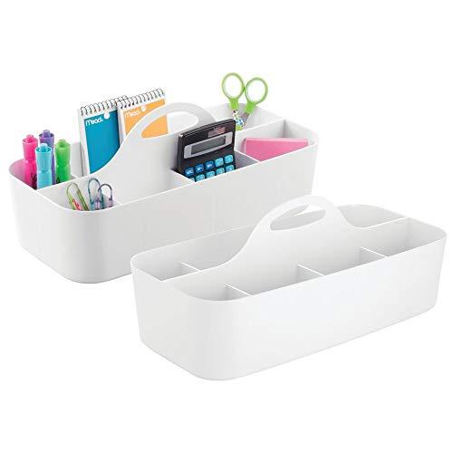 mDesign 2er-Set Schreibtisch Organizer (groß) – perfekte Schreibtischablage aus Kunststoff für Scheren, Stifte, Klebezettel & Co. – Schreibtisch Ordnungssystem mit elf praktischen Fächern – weiß