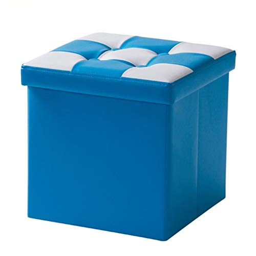 Wddwarmhome Boîte de Rangement pour Tabouret de Rangement pour Pouf Pliable en PVC - Capacité de Charge maximale 150 kg - Facile à Nettoyer -30 * 30 * 30cm (Couleur : Bleu)