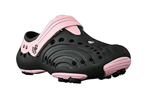 Dawgs golfschoenen dames - maat 42 - zwart-roze - zacht en duurzaam Eva-materiaal - uitneembare schuimrubberen binnenzool - gevormde voetgewelfsteun - dikke gevoerde hiel.