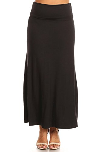PB COUTURE Womens Plus Size Flowy Long Maxi Skirt Fold Over Waistband Black-2X