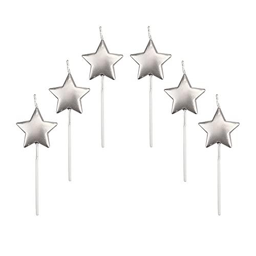 Velas de Cumpleaños en Forma Estrella,6 Pcs Velas únicas para Decorar Pastel...