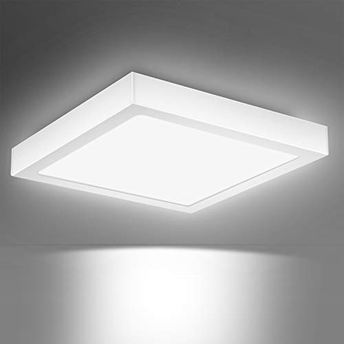 Creyer LED Deckenleuchte, Quadrat LED Panel Deckenlampe 24W ersetzt 150W Glühbirne, 30x30x3.6cm, 2000lm, Kaltweiß(6000K), Metall Rahmen, Ideal für Schlafzimmer Küche Wohnzimmer, Nicht Dimmbar