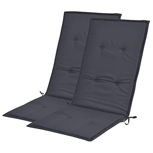 vidaXL 2X Gartenstuhl Auflage für Hochlehner Kissen Sitzkissen Stuhlkissen Polster Stuhlauflage Sitzauflagen Sitzpolster Anthrazit 120x50x3cm